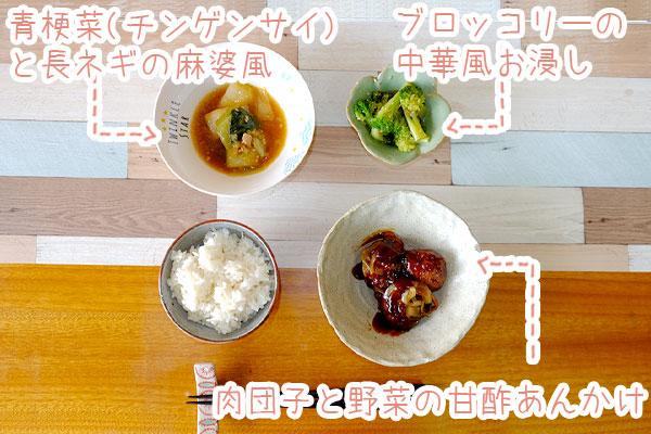 肉団子と野菜の甘酢あんかけセット内容