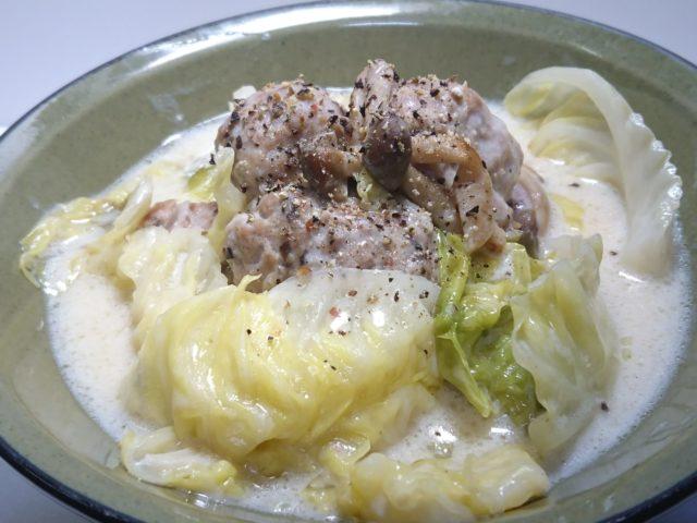 キャベツと豚肉団子のクリーム煮の完成2