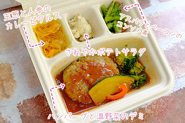 ハンバーグと温野菜のデミメニュー